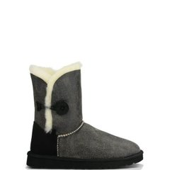 "UGG BAILEY BUTTON II BOOT LEATHER ""GREY/BLACK"", 37"