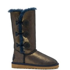 "UGG BAILEY BUTTON TRIPLET II BOOT ""NAVY/GOLD"", 36"