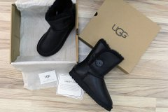 "UGG BAILEY BUTTON II BOOT LEATHER ""BLACK"", 37"