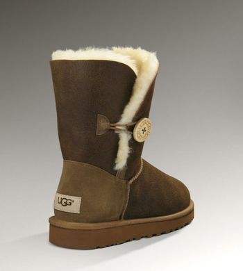 "UGG BAILEY BUTTON II BOOT LEATHER ""CHOCOLATE"", 36"