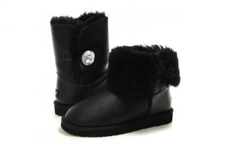 "UGG BAILEY BUTTON BOOT LEATHER BLING ""BLACK"", 39"